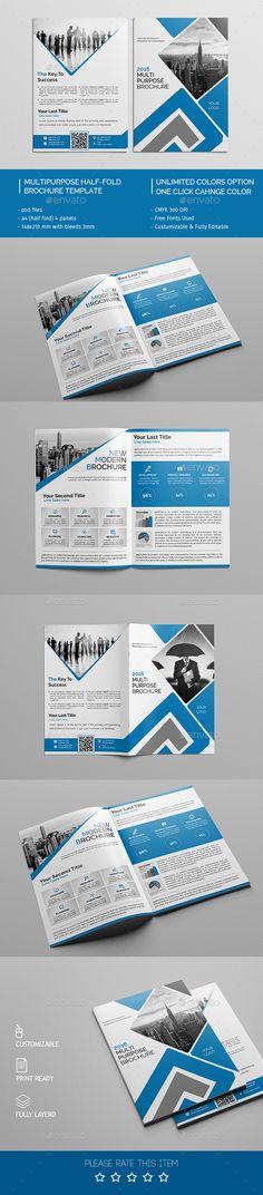 Corporate Bi-fold Brochure Template 04 Brochure template - half fold brochure template