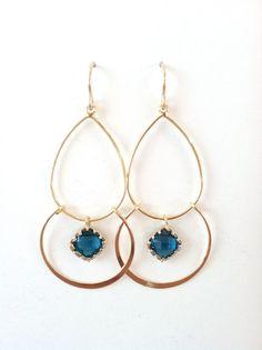 ED11250 - Sapphire drop gold dangle earrings