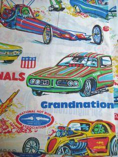 Vintage Race Car Dragster NHRA National Hot Rod Association Grandnational Flat Sheet TWIN Size Kid Boy Bedding Craft from missussewnsew. Saved to My. #hotrod #vintagecar #racecar #kidsbedding.