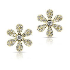 14KT Yellow Gold Diamond Mini Daisy Stud Earrings ($815) ❤ liked on Polyvore featuring jewelry, earrings, diamond jewellery, gold jewellery, daisy stud earrings, studded jewelry and gold jewelry