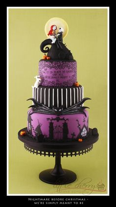 http://cakecentral.com/gallery/2303326/nightmare-before-christmas-wedding-cake  @jenny citino..thought you would like this!