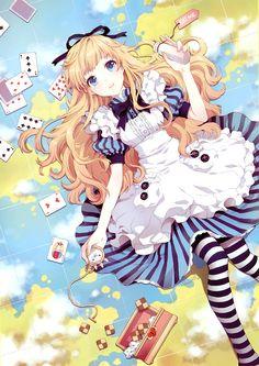 Dibujo de Alicia en el País de las Maravillas en Anime / Alice in Wonderland's drawing on Anime