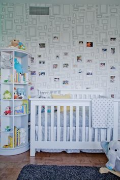 Take the 50 million photos that you have of your new bundle of joy and stick them on this cool frames wallpaper. The best part about this behind-the-crib wall is that it continually grows (a lot like your bambino).