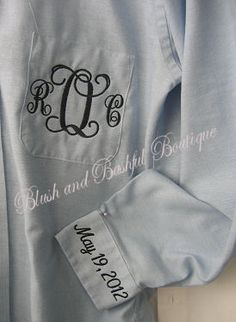 Bride's Button Up Getting Ready Shirt with monogram and wedding date.