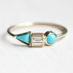 Triangle Square Circle Turquoise and Diamond Ring