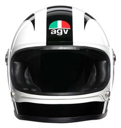 "AGV Nieto Tribute"" retro full face helmet of the AGV Legends Collection. AGV helmets at Agv Helmets, Motorcycle Helmets, Retro Helmet, Full Face Helmets, Suede Fabric, Black And White, Legends, Engineering, Leather"