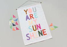 You Are My Sunshine Wall Banner from Raising Miss Matilda's Studio's.    Wall Banner, Modern Kids Room Art, Baby Shower Gift, Nursery Decor, You Are My Sunshine