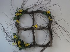 Country Primitive Birch square wreath with by nyflowerchic on Etsy, $65.00