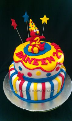 Coolest 2 Tiers 3D Elmo Cake... This website is the Pinterest of birthday cake ideas