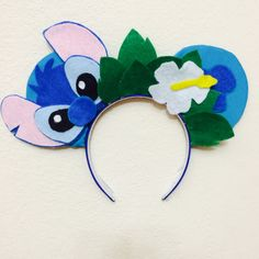 Stitch themed Minnie Ears Headband. Perfect ears for a day at Disneyland!