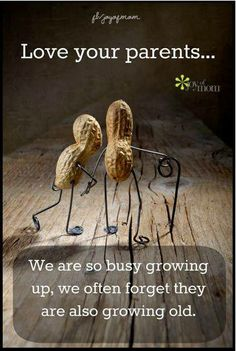 Love your parents… We are so busy growing up, we often forget they are also growing old.