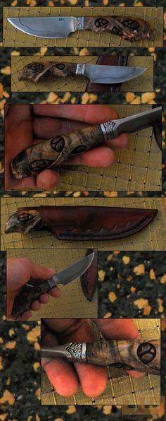 Gerdil Лоран - Скульптура - Человек нож резные. Полный Полу лезвие кованые C105 избирательного упрочнения глины. Канал клен стабилизировалась объектив, резные, выдержал. Общая длина 16 см. Дело растительного кожи ручной сшитые.