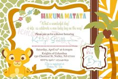 Lion King Baby Shower Invitations | Baby Shower Invitations