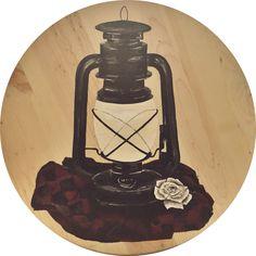 Lantern - acrylic on wood - flower - plaid - painting