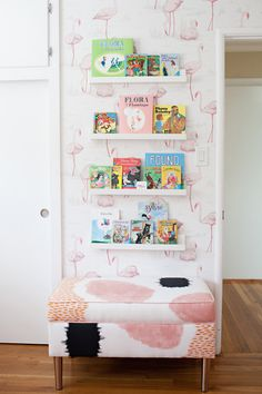 Open shelves in the flamingo nursery: http://www.stylemepretty.com/living/2016/11/17/the-flamingo-nursery-that-is-breaking-hearts-left-and-right/ Photography: What Shanni Saw - http://whatshannisaw.com/index2.php#/home/