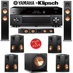 Klipsch 722 Dolby Atmos Home Theater System with Yamaha AVENTAGE AV Receiver. This is surely a great product! Home Theater Speaker System, Home Theater Setup, Home Theater Rooms, Home Theater Design, Cinema Room, Audio System, Klipsch Home Theater, Surround Sound Speakers, Av Receiver