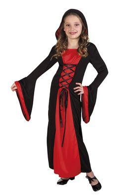 Vampyyrineito. Vampyyrineidon naamiaisasu tekee suloisestakin pikkuneidistä varsin karmaisevan hahmon. Hupullinen mekko on puna-musta ja varsin tyylikäs kokonaisuus. Halloween on karmivien naamiaisasujen aikaa, joten silloin tämä asu on tietenkin parhaimmillaan!