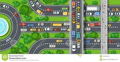 Top view of city map crossroads of urban streets Vector Image , Free Vector Images, Vector Art, Trees Top View, Farm Vector, Airplane Vector, House Vector, City Vector, Vector Trees, Urban Park