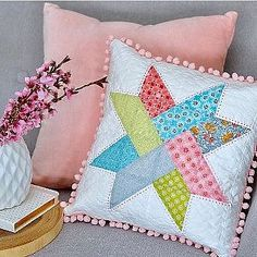 Last night I made a new pom pom cushion using the soft pastel prints from the Linen & Lawn collection by for For the backing I used the pink dotty print from my Sweet Orchard collection Applique Cushions, Sewing Pillows, Throw Cushions, Grey Cushions, Outdoor Cushions, Star Cushion, Quilted Pillow, Square Quilt, Quilting Projects