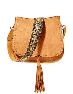 Steve Madden faux Swiss leather crossbody bag with embroidered strap
