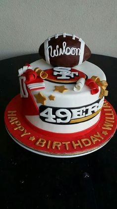 Who wants to make a cake like this for me for my birthday??? 49ers Birthday Party, Cake Birthday, Birthday Ideas, Sports Birthday, 7th Birthday, Happy Birthday, Raspberry Smoothie, Apple Smoothies, Cakes For Men