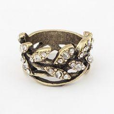 Vintage shining samll willow leaf finger ring 790472