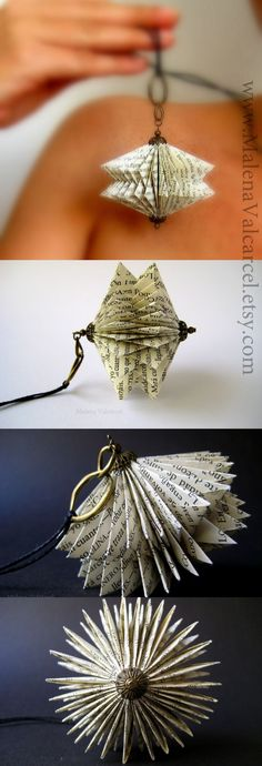 Marlena Valcarcel paper jewelry (could also be ornament - DIY Jewelry Crafts Ideen Origami And Kirigami, Origami Paper, Diy Paper, Paper Art, Paper Crafts, Diy Crafts, Diy Origami, Oragami, Folded Book Art