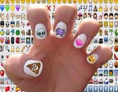Emoji // Alien // Turd // Cat // Hearts // Space Invader // Nineties // Nail Decals Transfer Nail Stickers - Cute Nails, Pretty Nails, My Nails, Nail Decals, Nail Stickers, Emoji Tattoo, Nail Art Designs, Emoji Nails, Emoji Love