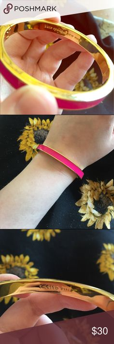 """KATE SPADE 🎀 """"Tickled Pink"""" Hinge Bracelet NEW WITHOUT TAGS! I bought this for a special occasion and never wore it since because I don't wear a lot of pink! No scratches, scuffs, etc. Outside is hot pink, inside reads TICKLED PINK and the other side is the Kate Spade logo! Retails for $48 at Macy's!! kate spade Jewelry Bracelets"""
