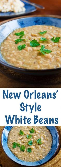 Orleans' Style White Beans Creamy beans cooked in the spicy New Orleans' tradition, but without animal products or fat.Creamy beans cooked in the spicy New Orleans' tradition, but without animal products or fat. Cajun Recipes, Soup Recipes, Vegetarian Recipes, Cooking Recipes, Healthy Recipes, Vegan Bean Recipes, Haitian Recipes, Cooking Corn, Louisiana Recipes