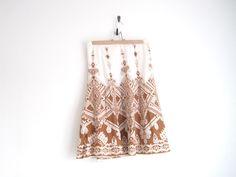 vintage ethnic print brown and cream skirt. $24.00, via Etsy.