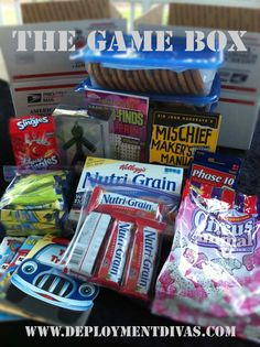 Deployment care package: Game box to share with the guys. I will have to remember circus animals, my guy loves them Soldier Care Packages, Deployment Care Packages, Missionary Packages, Missionary Gifts, Military Deployment, Deployment Gifts, College Gifts, Usmc, Marines