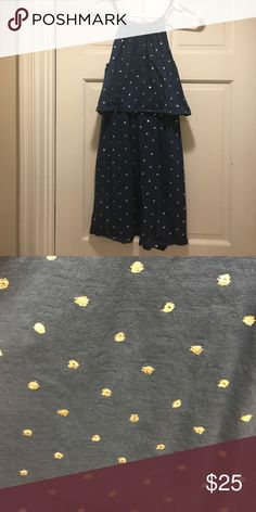 Loft two tiered dress. Loft two tiered dress. Navy blue with gold polka dots. Very stretchy and comfortable dress. LOFT Dresses Asymmetrical