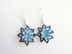 Blue Little Stars Beaded Earrings Blue by acbeadsjewellery on Etsy