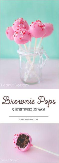 These 3 ingredient brownie pops are so easy to make and fun for the kids to help assemble! Customize them with the perfect color for your party or holiday. Pink for a Valentine's Day treat, spring Green for St. Patrick's Day or Easter! So many fun combinations.