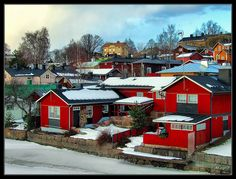 This photo from Southern Finland, South is titled 'P O R V O O'. Christmas Town, White Lilies, Opera Singers, Composers, Winter Travel, Finland, Sweden, Musicians, Northern Lights