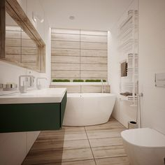 The bathroom is especially gorgeous! Wood tile clads the far wall and the floor sandwiched by white tile on either side, a clever arrangement that makes the room look more elongated. The freestanding tub is extra compact and makes up for the lost legroom with plenty of depth, backed by a long white planter filled with tranquil grass – the same type tucked into cute spaces throughout the rest of the house.