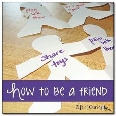 """A simple activity and discussion for teaching young children how to be a friend based on the book """"How to be a Friend"""" by Laurie Krasny Brown."""