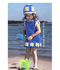 Girls Crochet Dress Pattern Granny Square by DigitalPatternShop