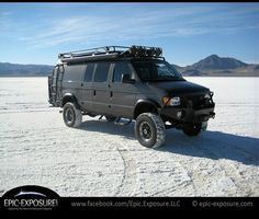 Sportsmobile loaded with Aluminess gear at the Bonneville Salt Flats. Great photo from @epic_exposure