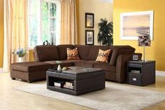 Living room paint color ideas with brown furniture. Brown leather furniture gives a deluxe, chic look to any kind of space. Neutral browns may coexist with a number of supporting colors to prod Living Room Color Schemes, Paint Colors For Living Room, Living Room Designs, Colour Schemes, Colour Palettes, Color Combinations, Brown Leather Sofa Living Room, Grey And Brown Living Room, Bedroom Brown