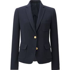 UNIQLO Women Stretch Blazer (2 130 UAH) ❤ liked on Polyvore featuring outerwear, jackets, blazers, dressy jackets, stretch jacket, button jacket, uniqlo blazer and fitted jacket