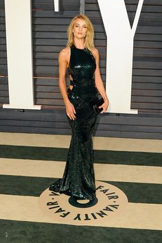 In Alexandre Vauthier at the 2015 Vanity Fair Oscar Party in Beverly Hills.   - ELLE.com