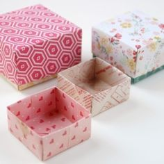 Learn how to make these quick and easy Origami Gift Boxes using scrapbook paper. Learn how to make these quick and easy Origami Gift Boxes using scrapbook paper. Origami Gift Box, Origami Easy, Origami Paper, Oragami, Origami Jewelry Box, Origami Box With Lid, Craft Gifts, Diy Gifts, Diy Box