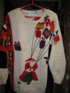 ON SALEVintage Xmas SweaterSanta w/ gifts by StuartsHollywoodColl, $35.00