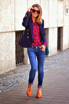 Smart Casual Style - Jacket, Shirt, Jeans, High Heel Shoes