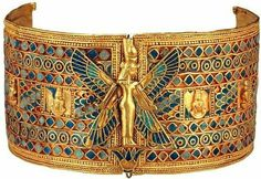 """Lapis Lazuli and gold, 940 BCE, Dynasty ancient Egypt """"Gold cuff of prince Nemareth"""