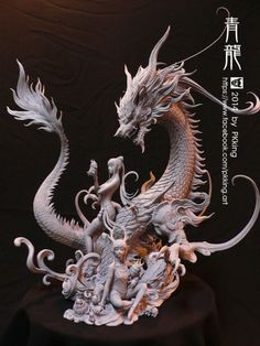 Easy Clay Sculptures : Azure Dragon by on deviantART - Dear Art Easy Clay Sculptures, Sculpture Clay, Dragon Statue, Dragon Art, Dragons, Toy Art, Effigy, Paperclay, Zbrush