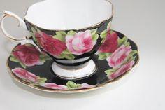 Vintage Royal Albert Fine Bone China Black Tea Cup Teacup & Saucer English Rose