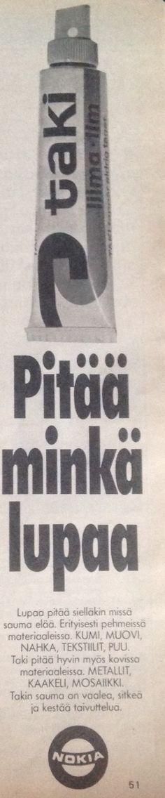 Taki pitää minkä lupaa Nokia mainos 1976